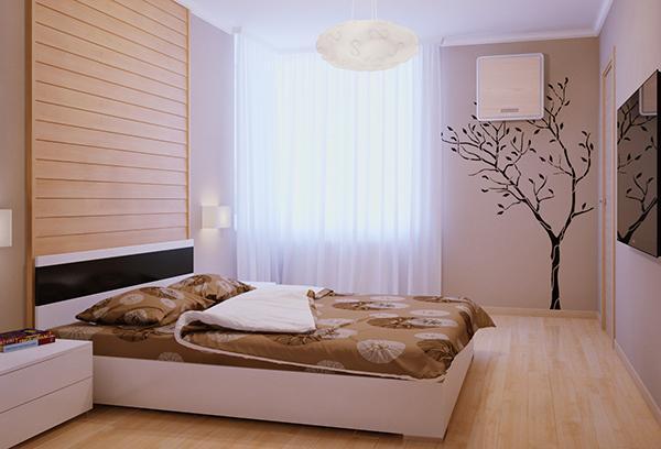 Легкая белая занавеска в спальне