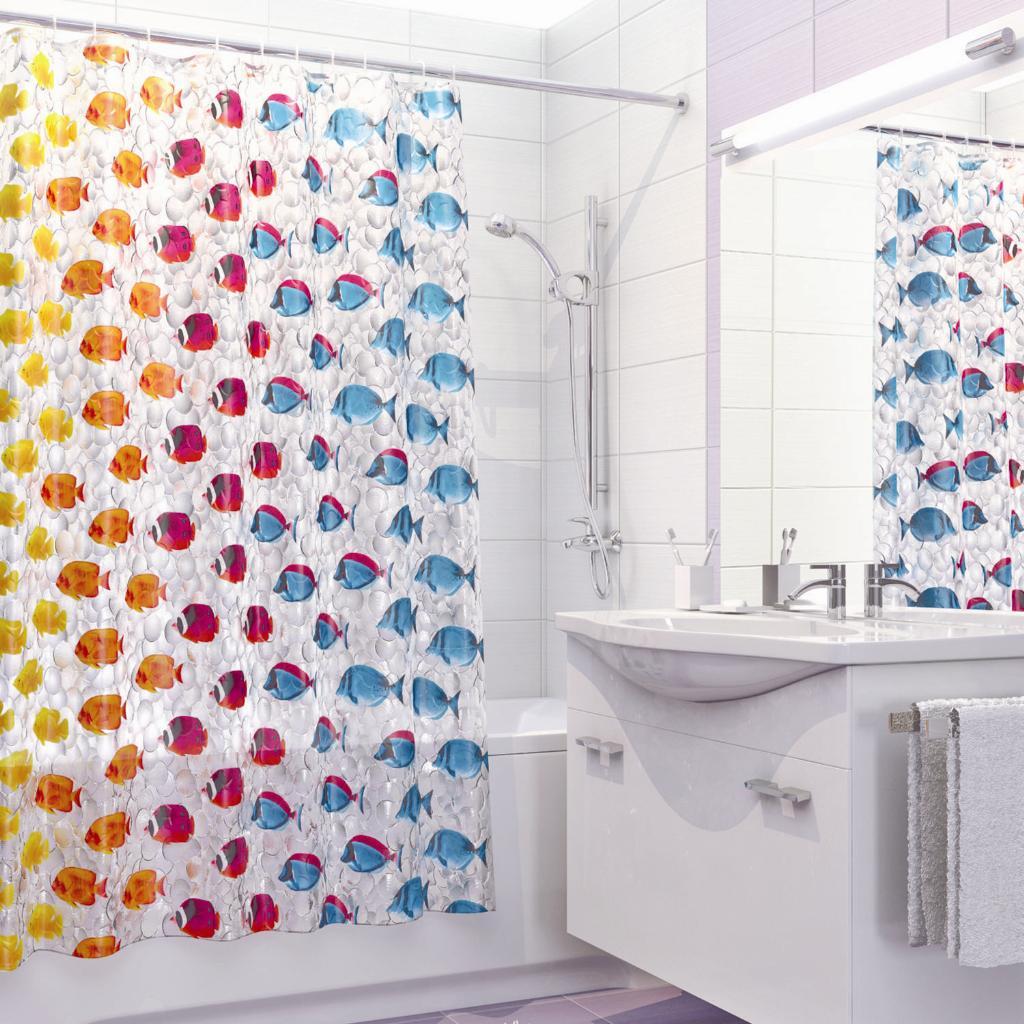 штора с рисунком для ванной