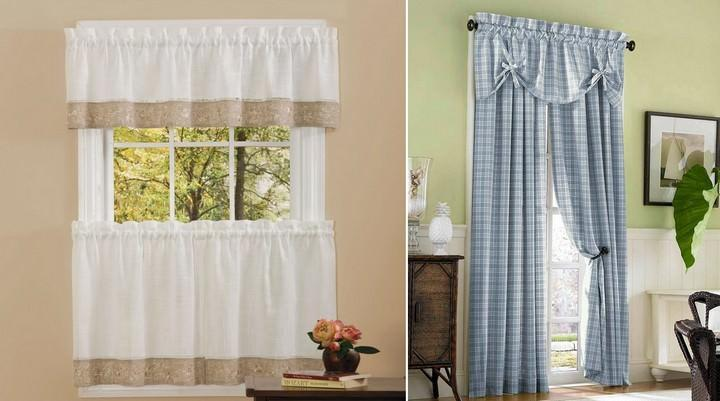 Небольшую зону окна можно зрительно увеличить, с помощью сочетания тонких и плотных тканей