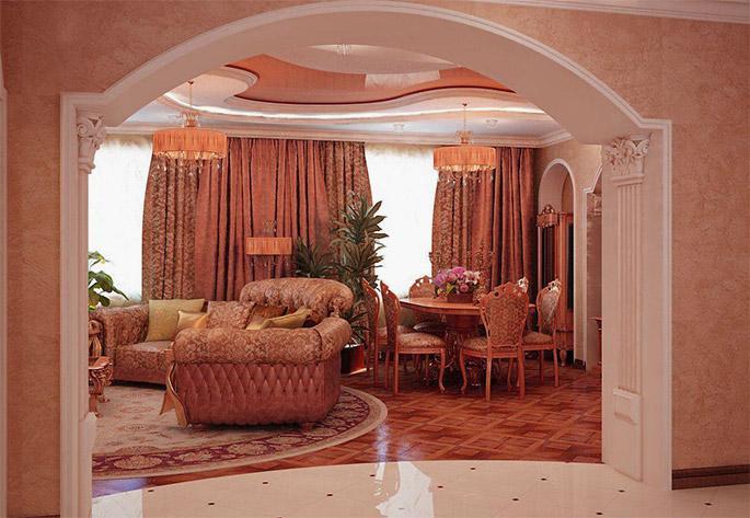 Арочный дверной проем в гостиную