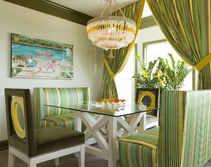 оливковый цвет штор с желтым