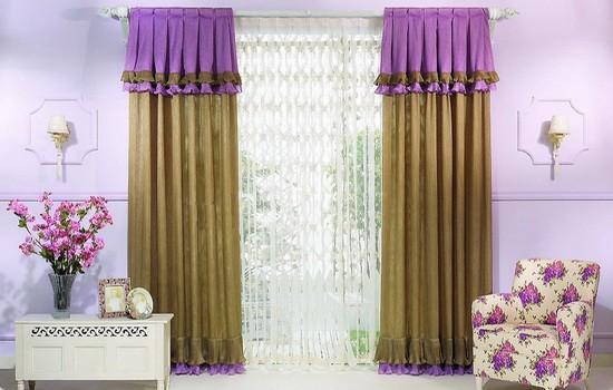Модные коричнево-сиреневые шторы