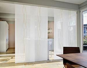 Японские шторы можно использовать как межкомнатные перегородки
