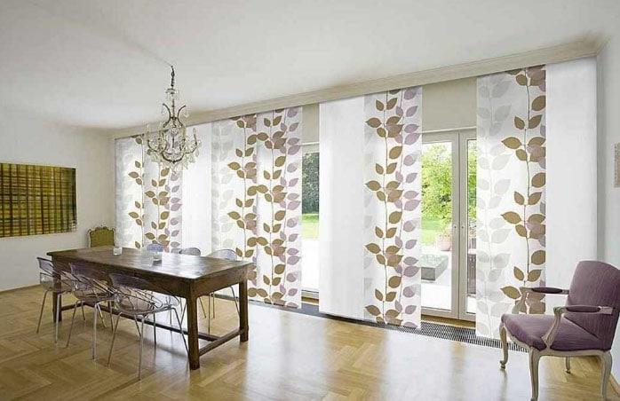 ленточные шторы в зале