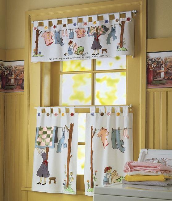 Занавески с принтом на дачные окна