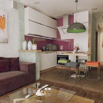 дизайн небольшой кухни гостиной