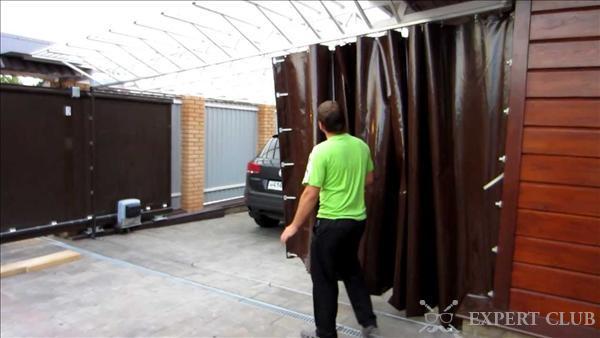 Гаражная штора из ПВХ-ткани