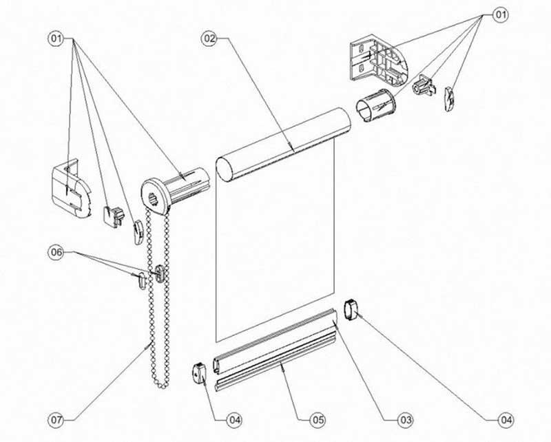 Схема составляющих рулонной шторы системы мини