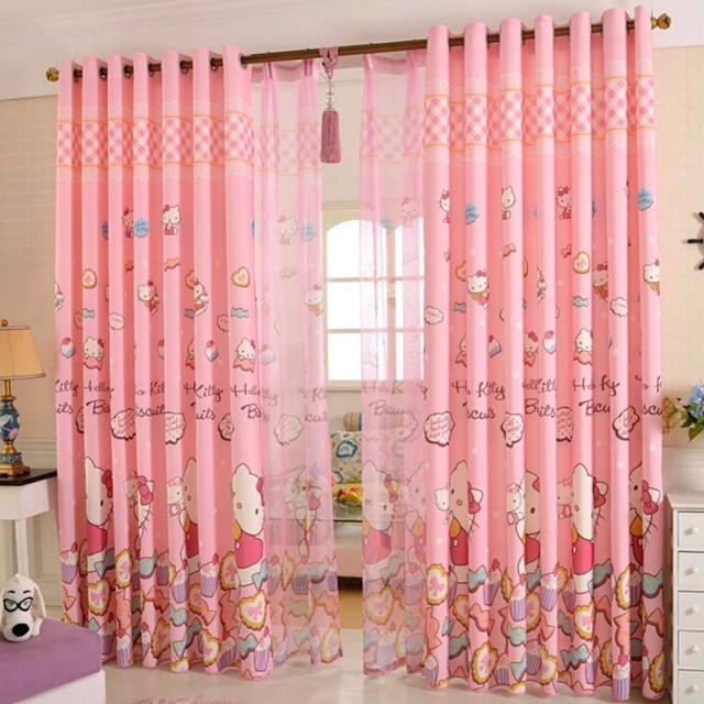 Розовые шторы с Хелло Китти для комнаты девочки
