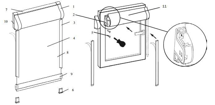 монтаж рулонной шторы уни 1 схема