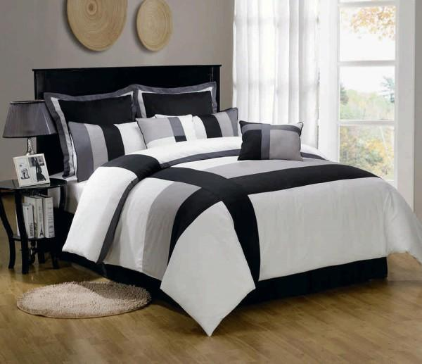 Queen-Bed-Comforter-Sets-with-patterned-black-and-white-and-additional-table-too-white-curtains