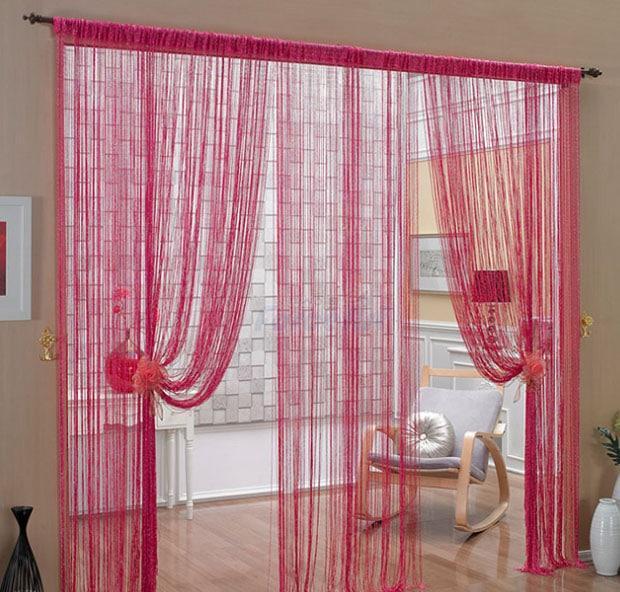 розовые шторы нитки