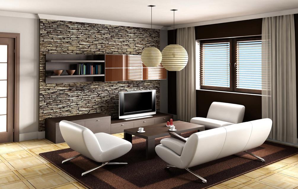 Гостиная с белой мебелью и шторами