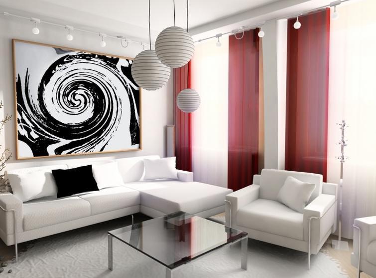 Белая мебель красный цвет штор