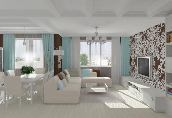 Белая мебель голубые шторы, интерьер гостиной-студии