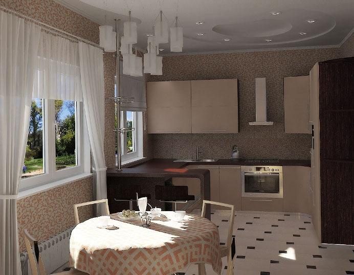 светлые шторы темной на кухне
