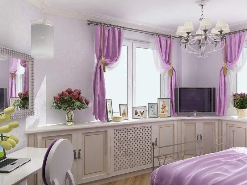 плюшевые лиловые шторки в стиле кантри в спальне