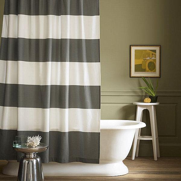 Шторки для ванной комнаты в полосатом стиле