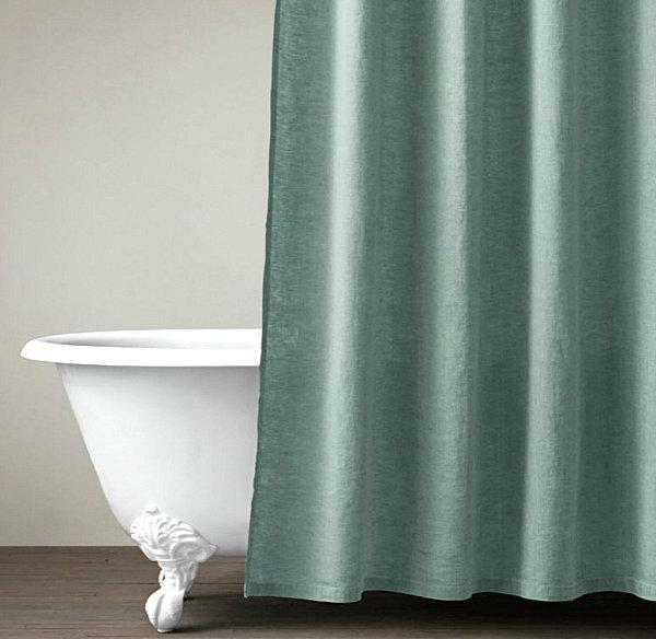 Полотняные занавески для ванной комнаты