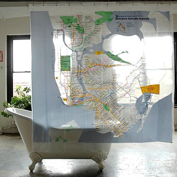 оригинальные шторы с картой метро