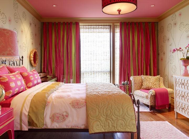 двухцветные шторы для спальни