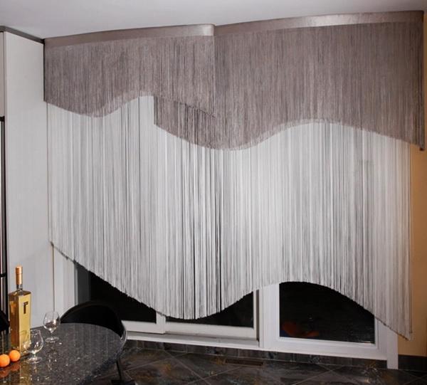 Бело-серые шторы кисея