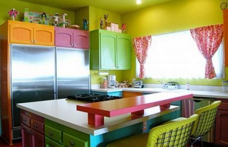 Яркая разноцветная угловая кухня
