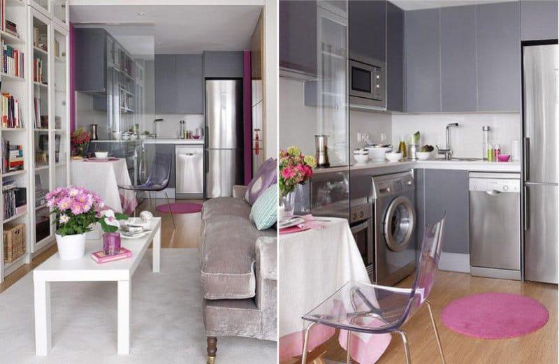 Серо-сиреневый гарнитур в интерьере кухни-гостиной