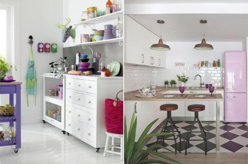 Акценты сиреневого цвета в интерьере кухни