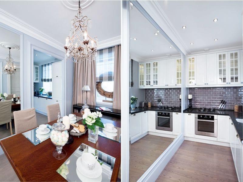 Светло-лиловые стены в интерьере маленькой кухни-столовой