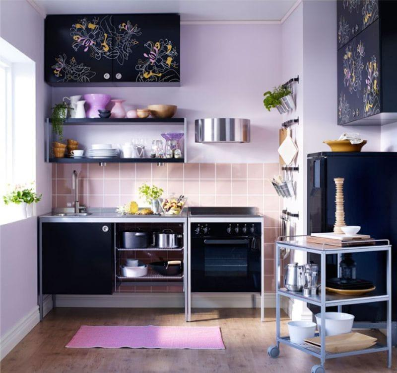 Черно-сиреневая кухня