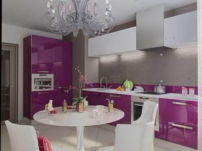 Сиреневая с серым кухня