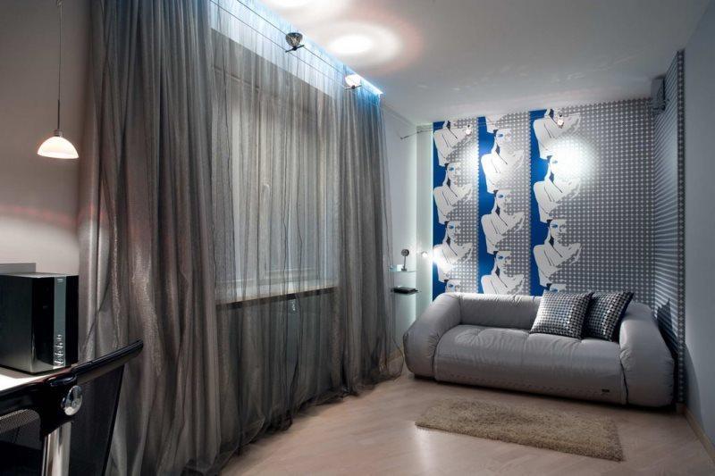подростковая комната в стиле хай-тек с серебристыми шторами