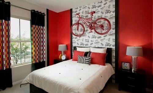 Интерьер красной спальни