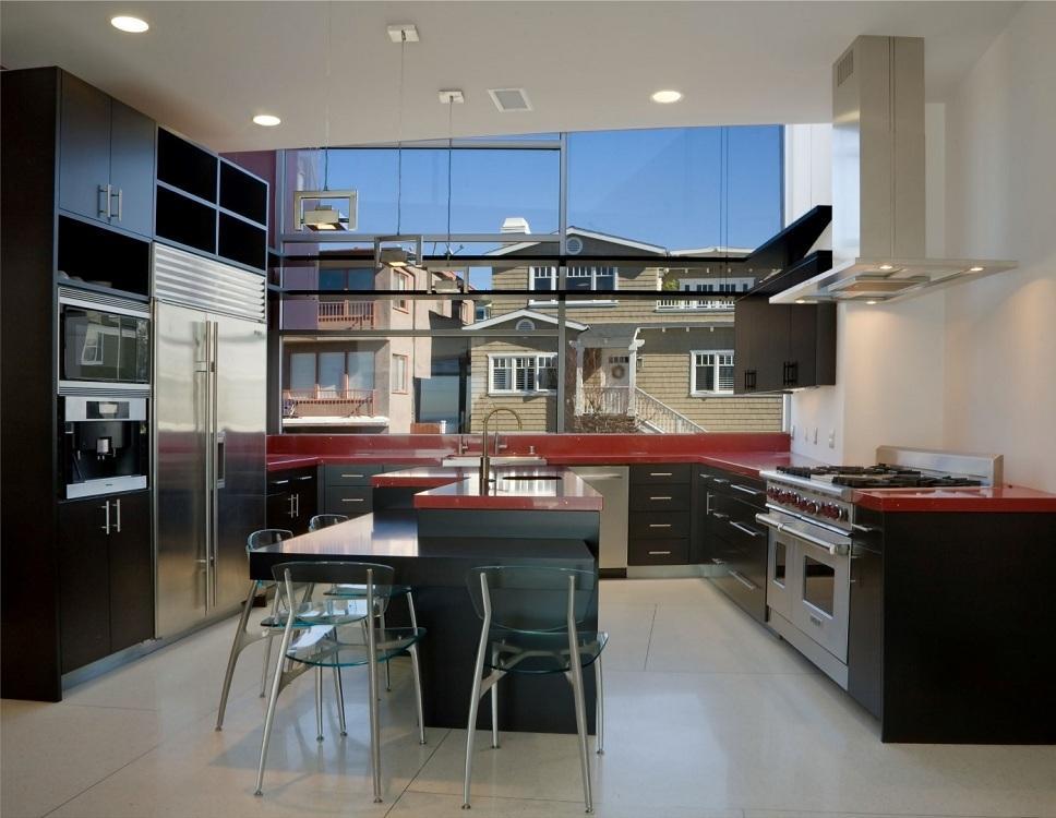 Выбор стиля для черно-красной кухни