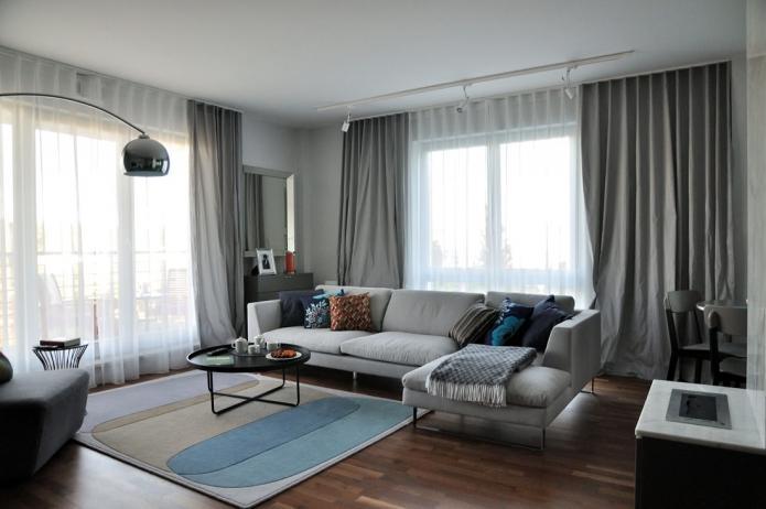 Серые стены в интерьере — сочетание штор с серыми стенами