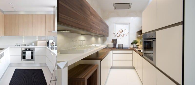 Комбинация дерева и пластика в дизайне кухонного гарнитура в стиле минимализм