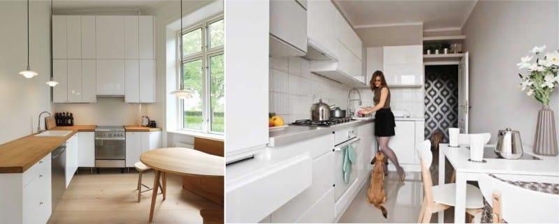 Стол в минималистичной кухне