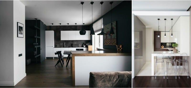 Барная стойка и остров в интерьере кухни в стиле минимализм