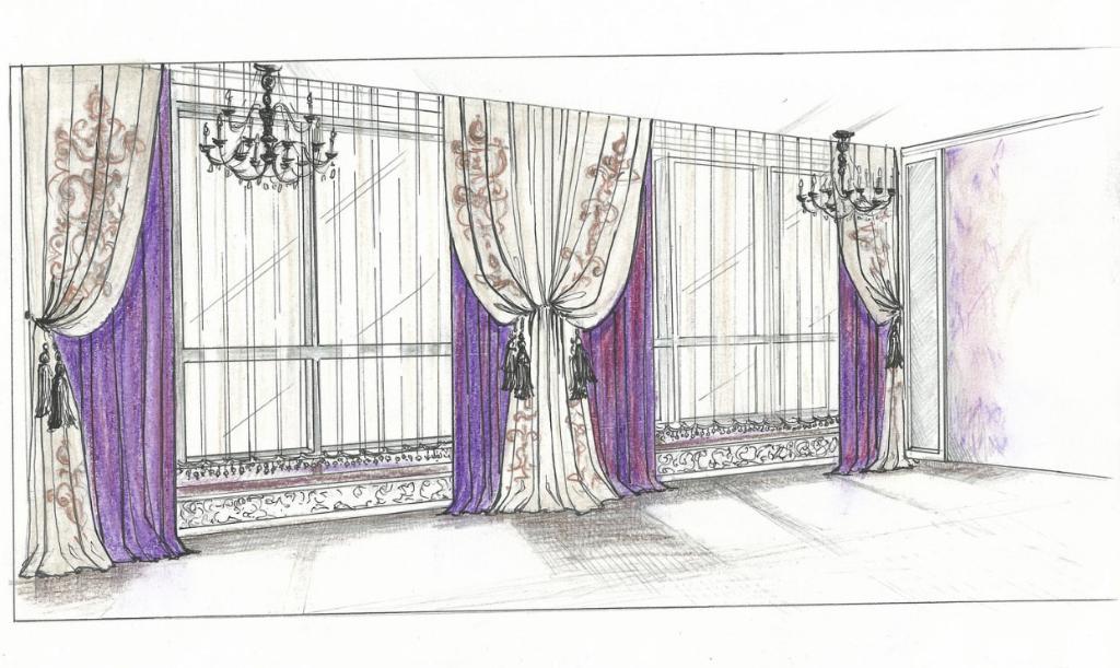 нарисованные шторы