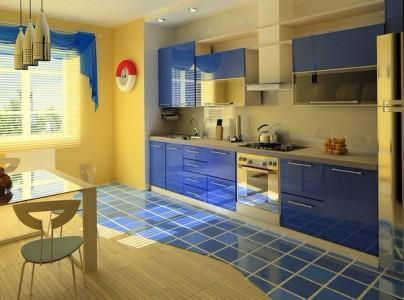 Имитация моря и песка на кухне.