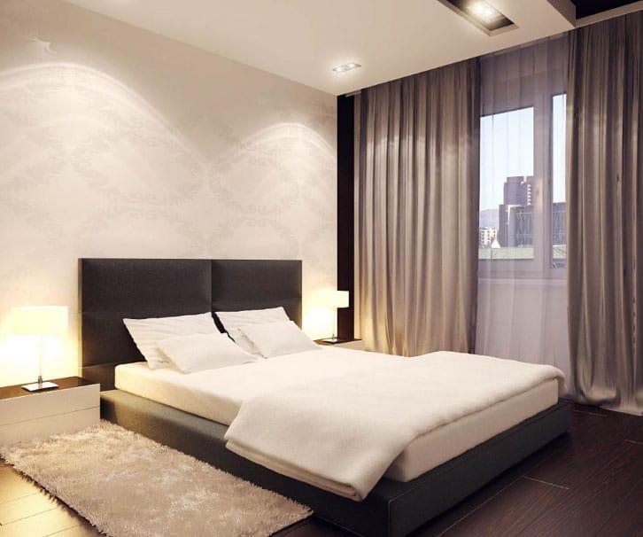 шторы в стиле минимализм в спальне
