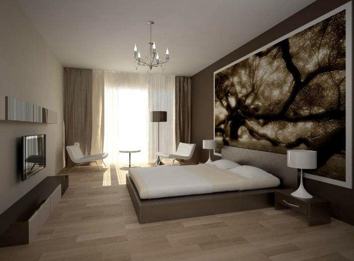 простые шторы в спальне