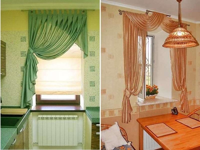 различные сочетания для длинных портьер на узкое окно