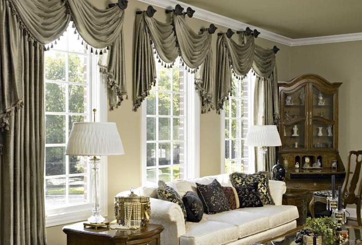 оливковые шторы с бахромой