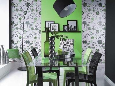 Отделка стены кухни зеленым