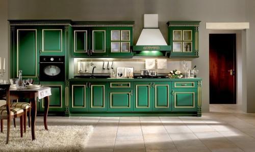 Кухня изумрудного цвета