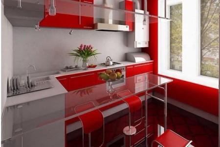 Красно-белая кухня в стиле хай-тек