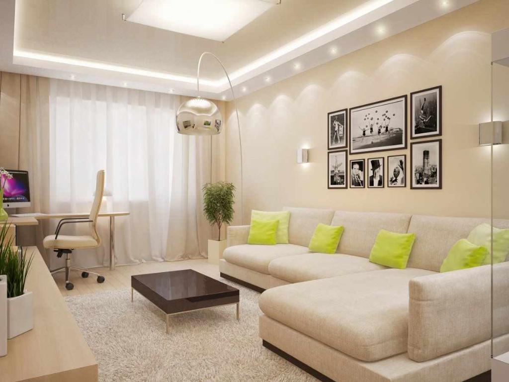 пример красивого дизайна гостиной комнаты 17 кв.м