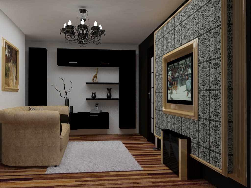 вариант красивого дизайна гостиной комнаты 17 кв.м